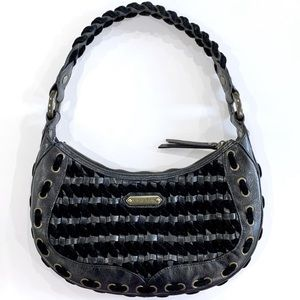 Isabella Fiore Woven Leather and Velvet Purse Boho